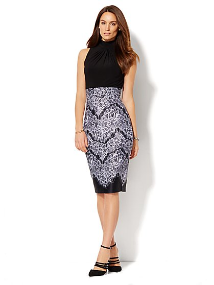 Mock Neck Midi Scuba Dress - Solid/Print - Petite   - New York & Company