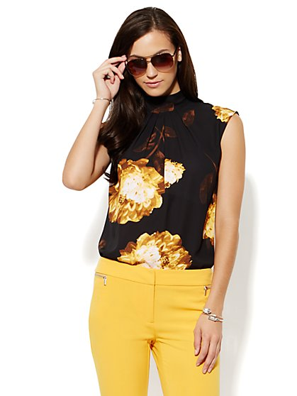 Mock-Neck Pleated Blouse - Floral  - New York & Company