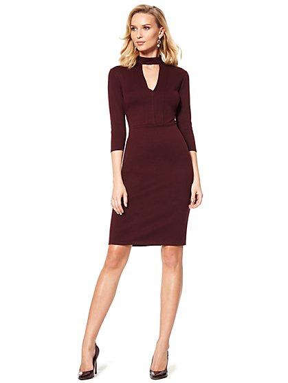 Mock-Neck Ponte Sheath Dress - New York & Company
