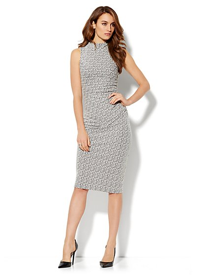 Mock-Neck Print Midi Sheath Dress - New York & Company