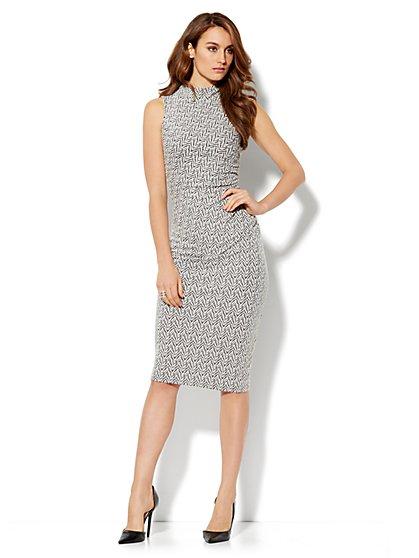 Mock-Neck Print Midi Sheath Dress - New York & Company