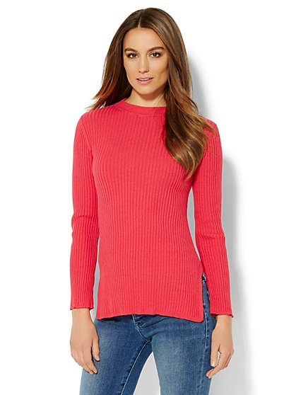 Mock-Neck Ribbed-Knit Sweater  - New York & Company