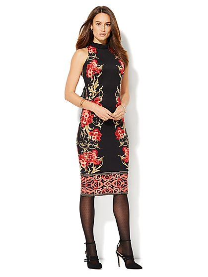 Mock-Neck Scuba Midi Dress - Print  - New York & Company