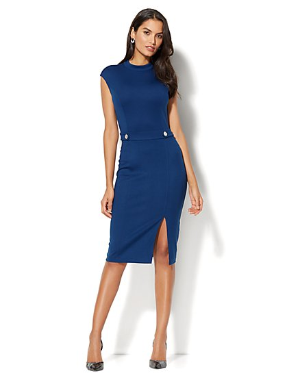 Mock-Neck Sheath Dress - Ponte - New York & Company