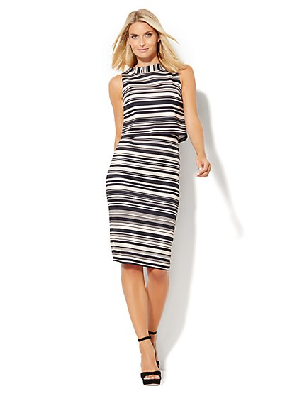 Mock-Neck Sheath Dress - Tan & Black Stripes  - New York & Company