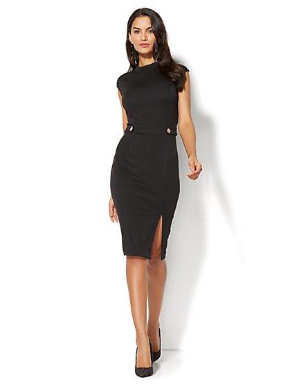 Mock-Neck Shift Dress - Ponte - Petite - New York & Company