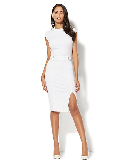 Mock-Neck Shift Dress - Ponte - Petite - New York & Company