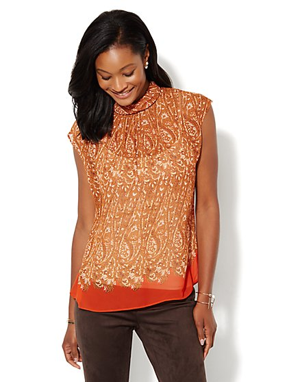 Mock-Neck Short-Sleeve Blouse - New York & Company