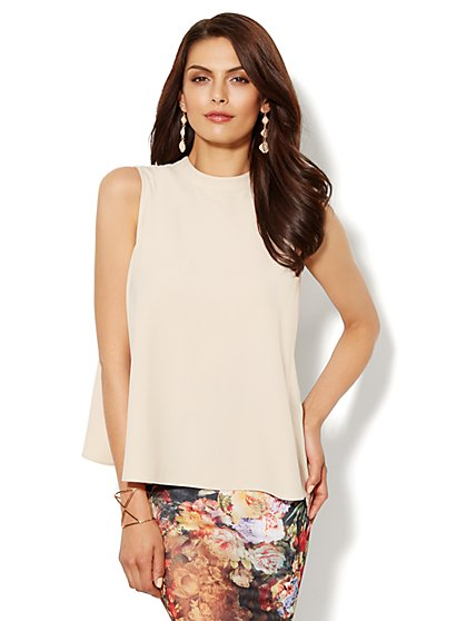 Mock Neck Sleeveless Blouse - New York & Company