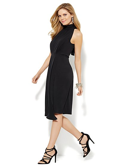 Mock-Neck Wrap Dress  - New York & Company