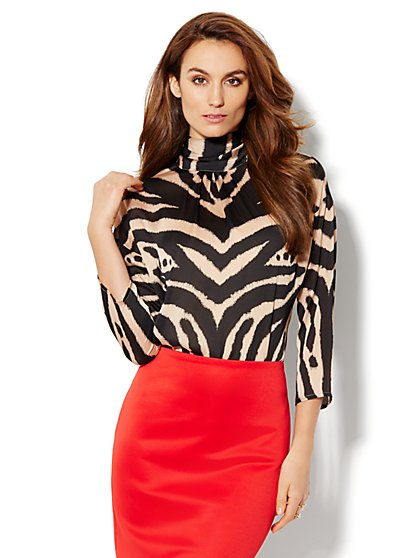 Mock-Neck Zebra-Print Blouse - New York & Company