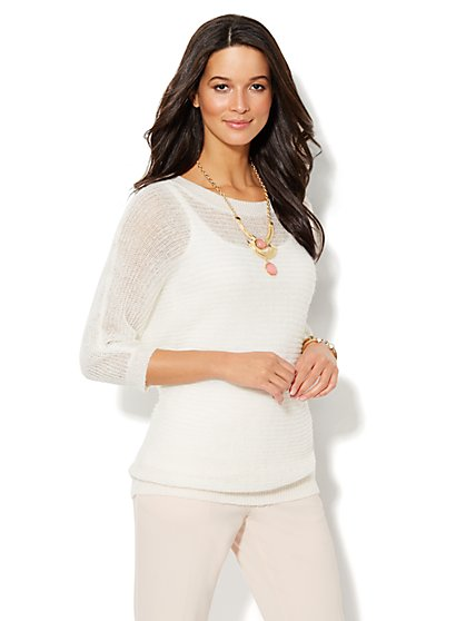Mohair Open-Stitch Dolman Sweater - New York & Company