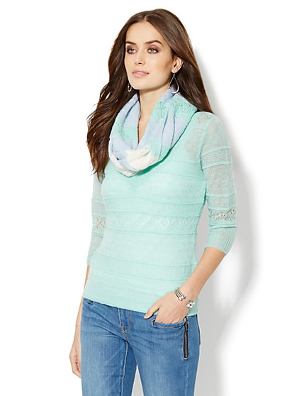 Mohair Open-Stitch V-Neck Sweater - New York & Company