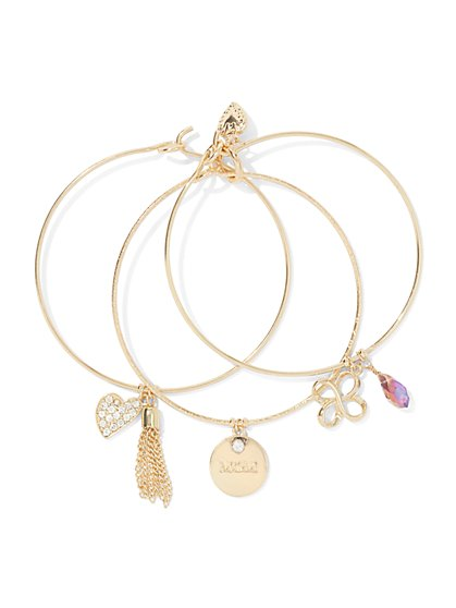 Mother's Day Charm Bangle Bracelet Set  - New York & Company