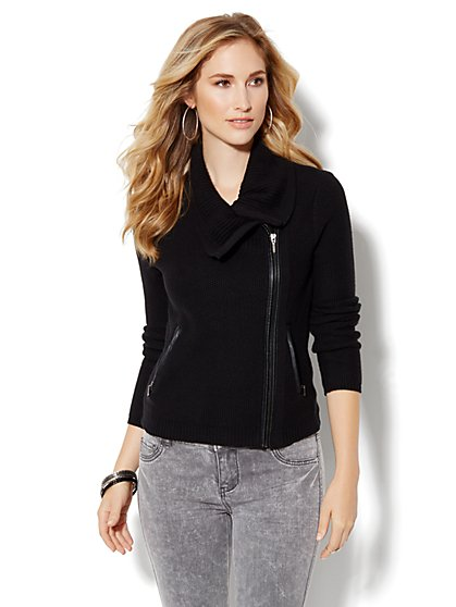 Moto Sweater Jacket - Black - New York & Company
