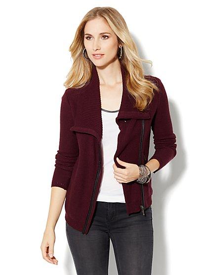 Moto Sweater Jacket - Solid - New York & Company