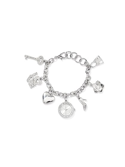 Multi-Charm Bracelet Watch  - New York & Company