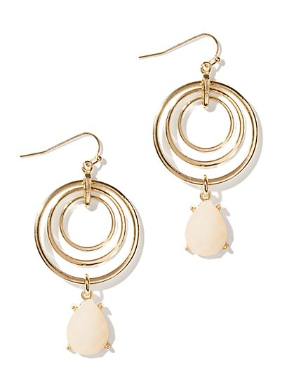 Multi-Circle & Bead Drop Earrings - New York & Company