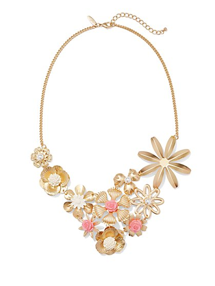 Multi Flowers Bib Necklace  - New York & Company