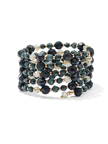 Multi-Row Beaded Coil Bracelet  - New York & Company
