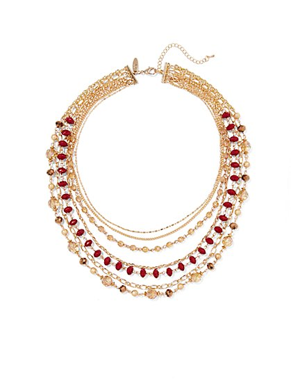 Multi-Row Faceted Bead Necklace - New York & Company