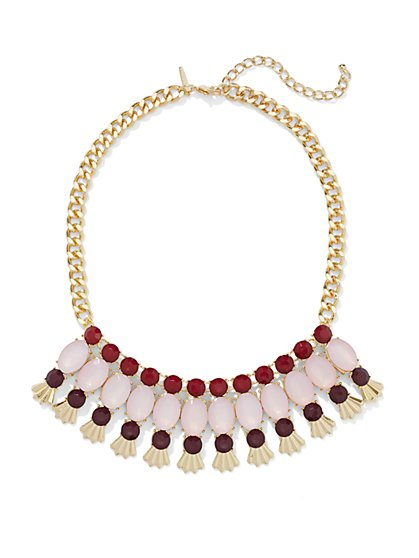 Multi-Stone Three-Row Necklace  - New York & Company
