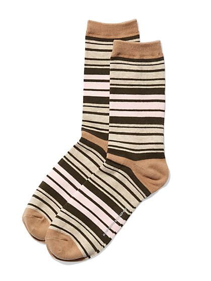 Multi-Stripe Crew Sock  - New York & Company