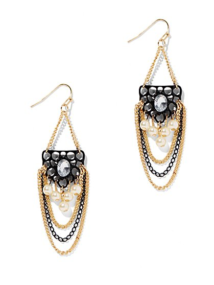 Multichain Beaded Chandelier Earring - New York & Company