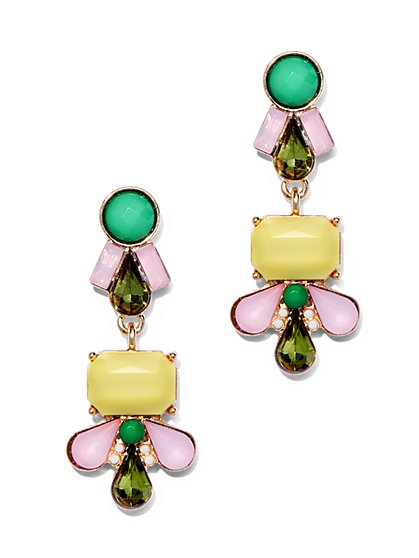 Multicolor Beaded Cluster Drop Earrings  - New York & Company