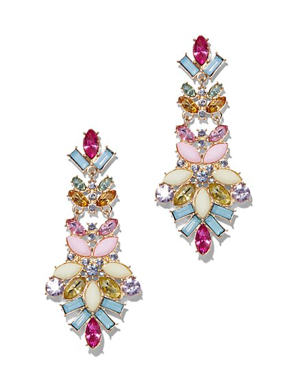 Multicolor Cluster Drop Earrings  - New York & Company