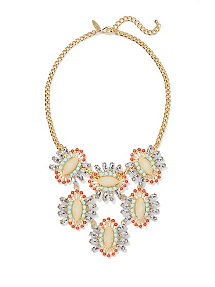 Multicolor Faux-Stone Bib Necklace  - New York & Company