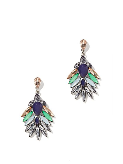 Multicolor Faux-Stones Drop Earrings