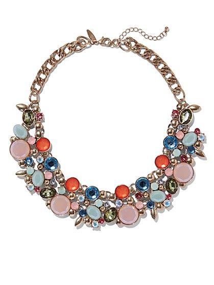 Multicolor Floral Bib Necklace  - New York & Company