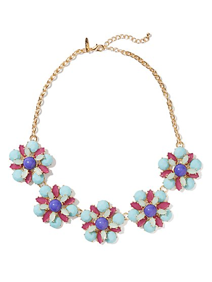 Multicolor Floral Bib Necklace