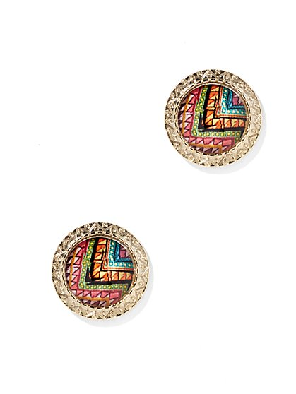 Multicolor Geo Post Earring  - New York & Company