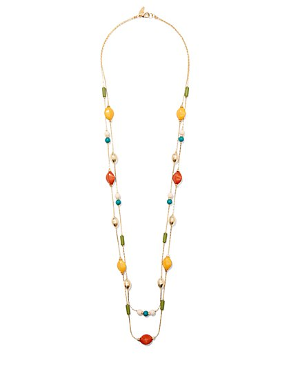 Multicolored Beaded 2-Row Necklace  - New York & Company