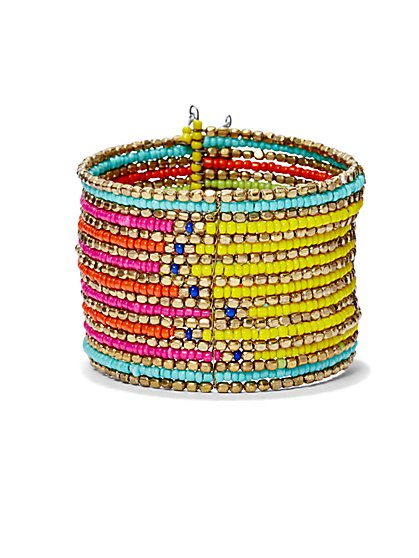 Multicolored Beaded Cuff Bracelet  - New York & Company