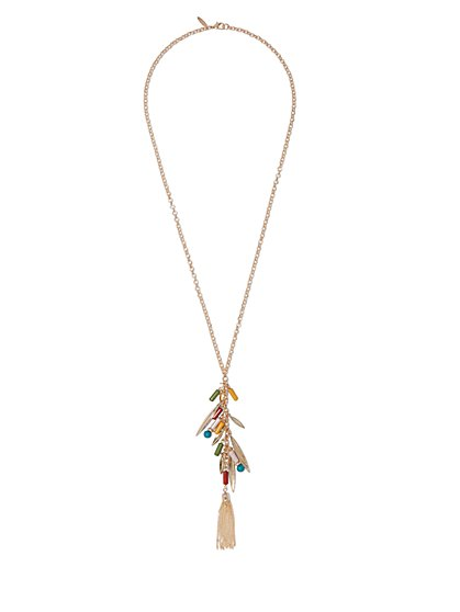 Multicolored Beaded Fringe Pendant Necklace  - New York & Company