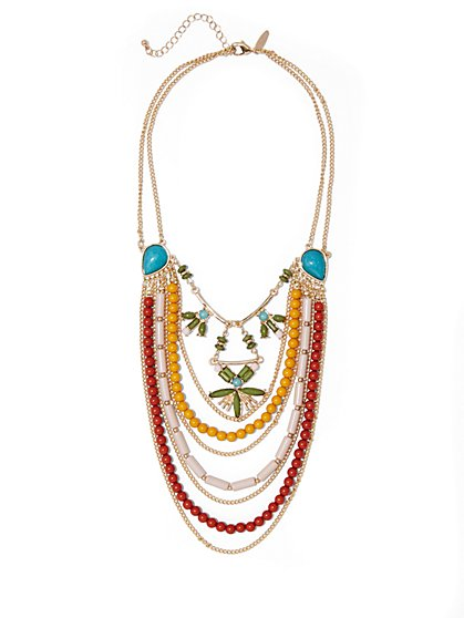 Multicolored Beaded Layered Necklace  - New York & Company