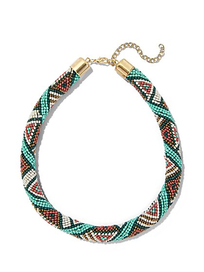 Multicolored Beaded Necklace  - New York & Company