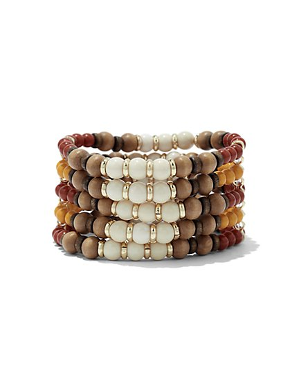 Multicolored Beaded Stretch Bracelet  - New York & Company