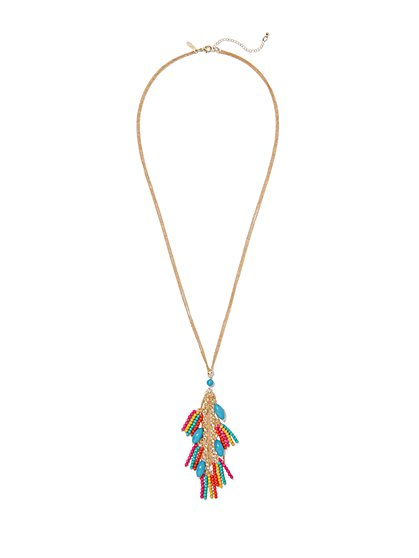 Multicolored Fringe Pendant Necklace  - New York & Company