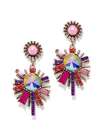 Multicolored Sunburst Drop Earring  - New York & Company