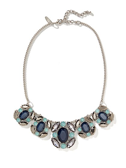 Multistone Beaded Bib Necklace  - New York & Company