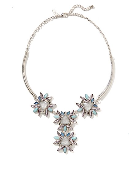 Multistone Beaded Y Necklace  - New York & Company