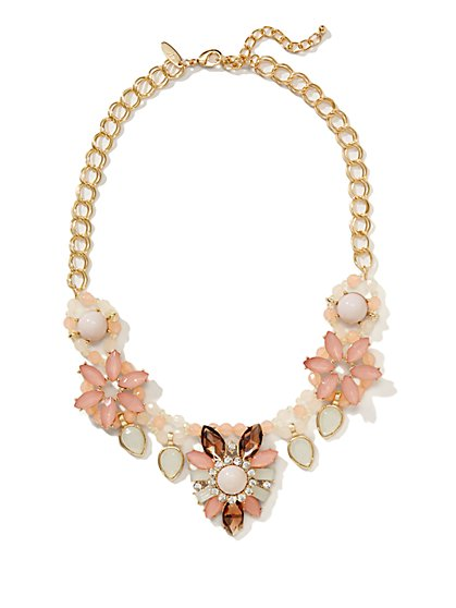 Multistone Floral V-Shaped Necklace  - New York & Company