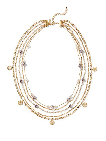Multistrand Faux-Pearl Necklace  - New York & Company