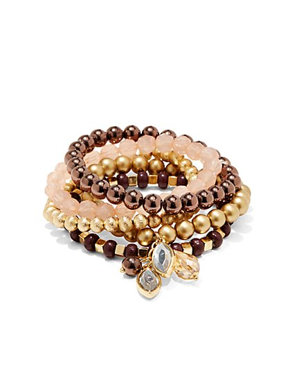 Multistrand Stretch Charm Bracelet - Peach Dusk - New York & Company