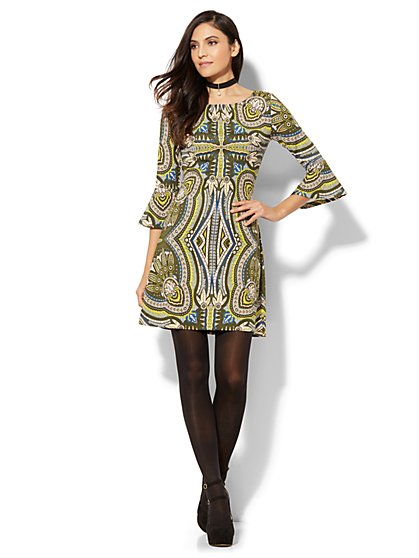 Must-Have Bell-Sleeve Printed Flare Dress  - New York & Company