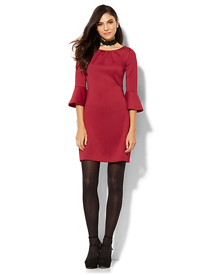 Must-Have Bell-Sleeve Solid Flare Dress  - New York & Company